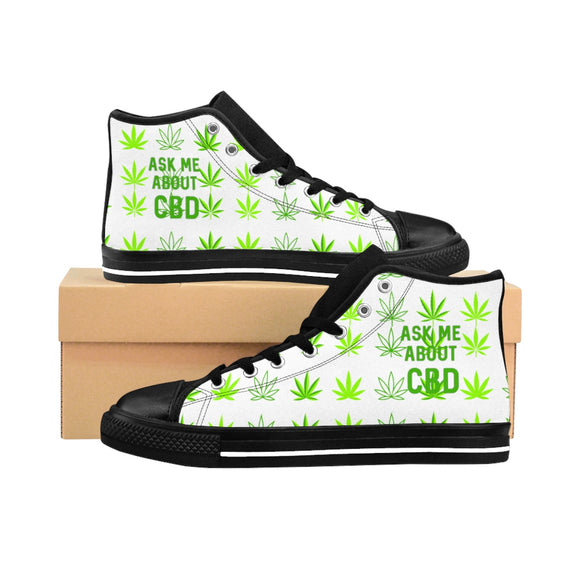Ask Me About CBD (Hemp Leaf) Men's High-top Sneakers