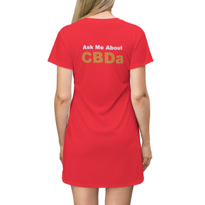 Ask Me About CBDa / CBD Distributor T-shirt Dress (up to plus size 2x)