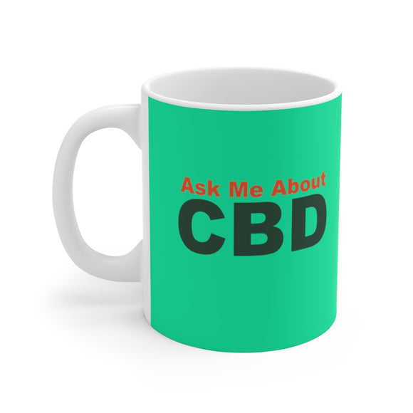 Ask Me About CBD Ceramic Mug