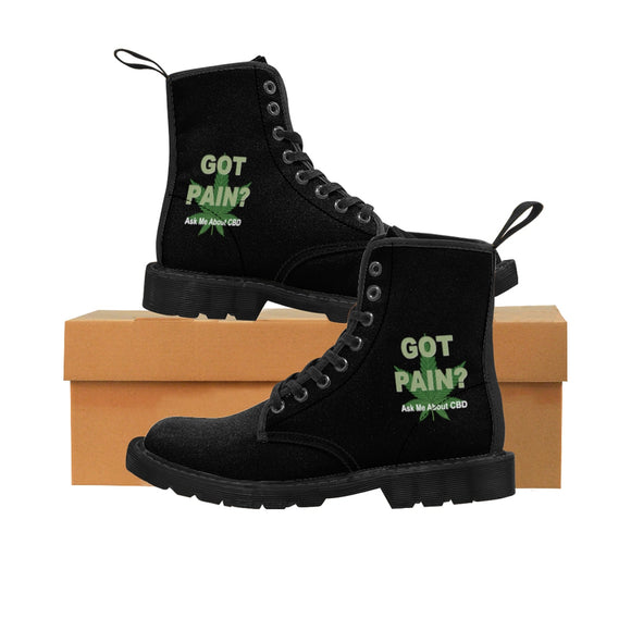 Got Pain? Ask Me About CBD Men's Canvas Boots