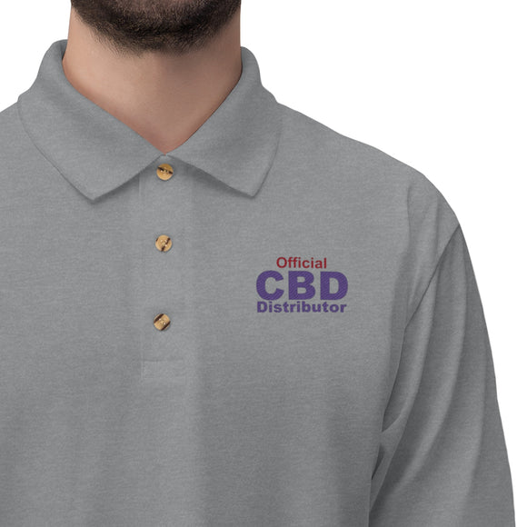 Official CBD Distributor (Red & Purple) Embroidered - Men's Jersey Polo Shirt