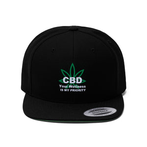 CBD Your Wellness Is My Priority Unisex Flat Bill Hat