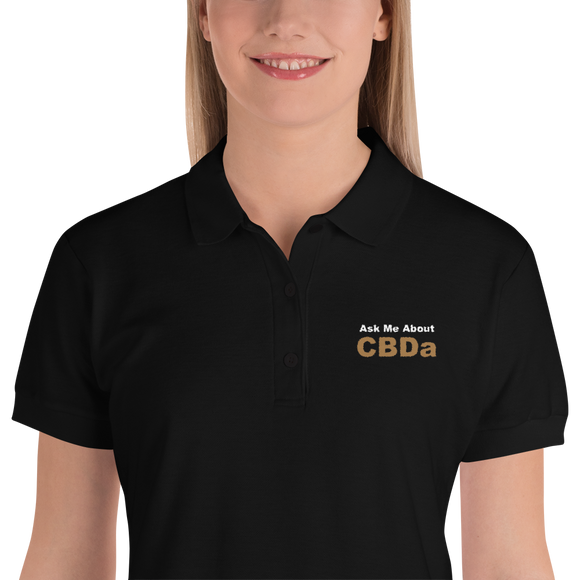 Ask Me About CBDa - Embroidered Women's Polo Shirt