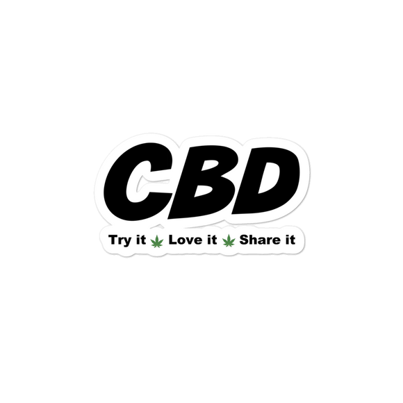 CBD, Try It, Share It, Love It, Bubble-free stickers