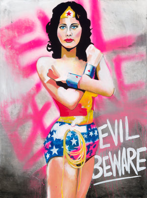 "Wonder Woman ""EVIL BEWARE"" 30x40 Original"