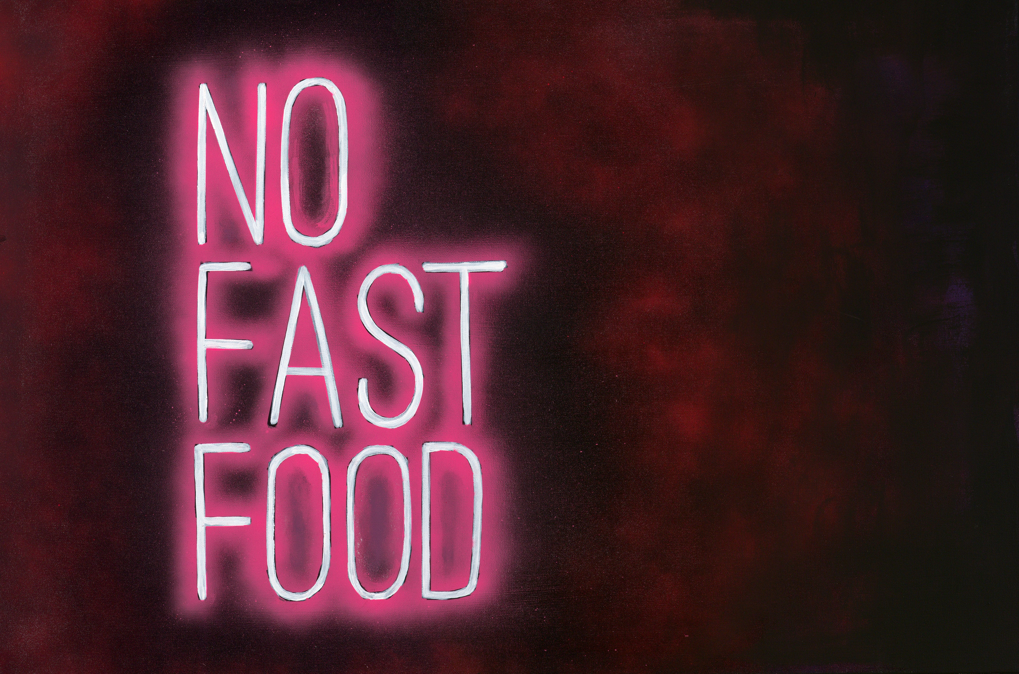 NO FAST FOOD Neon Canvas Print