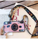 3D Retro Camera Lanyard Phone holder Case for iPhone XR XSMax XS X 7Plus 8Plus 8 7 6sPlus