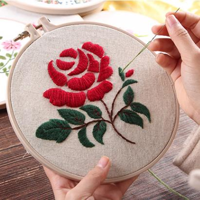 Red Rose Embroidery Kit