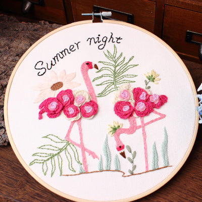 Flamingo at Summer Night Embroidery Kit