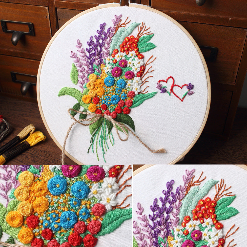 Flower Bouquet  Embroidery Kit