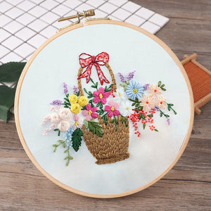 Splendid Basket of Flowers Embroidery Kit