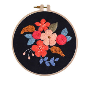 Black Wild Flowers Embroidery Kit