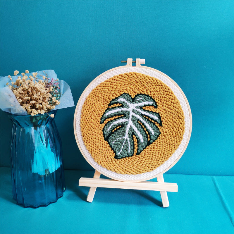 Monstera Punch Needle Kit