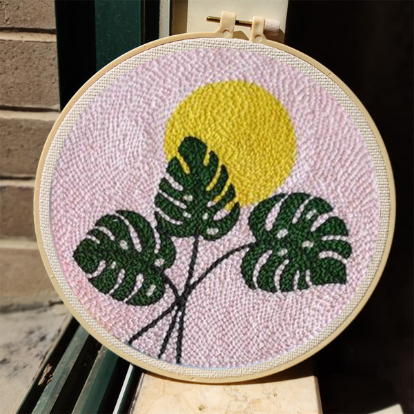 Pink Monstera Punch Needle Kit