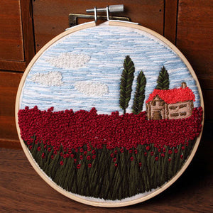 Red Tulip Field Embroidery Kit