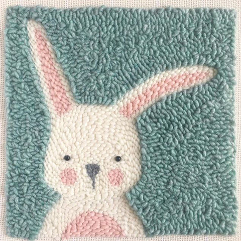 Green Bunny Punch Needle Kit Square