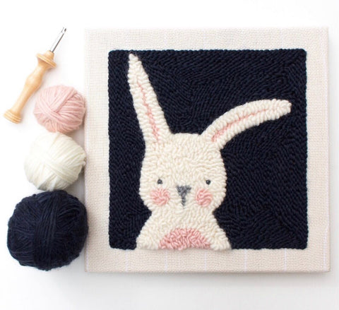 Black Bunny Punch Needle Kit Square