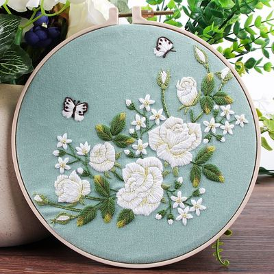White Rose & Butterfly Embroidery Kit