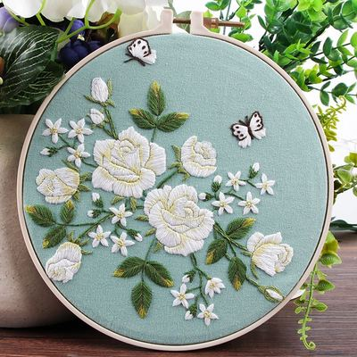 White Rose Embroidery Kit