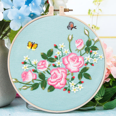 Pink Rose & Butterfly Embroidery Kit