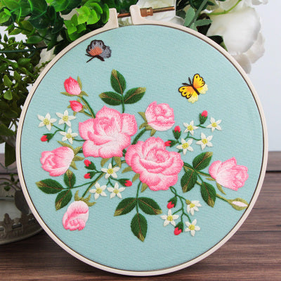 Pink Rose Embroidery Kit