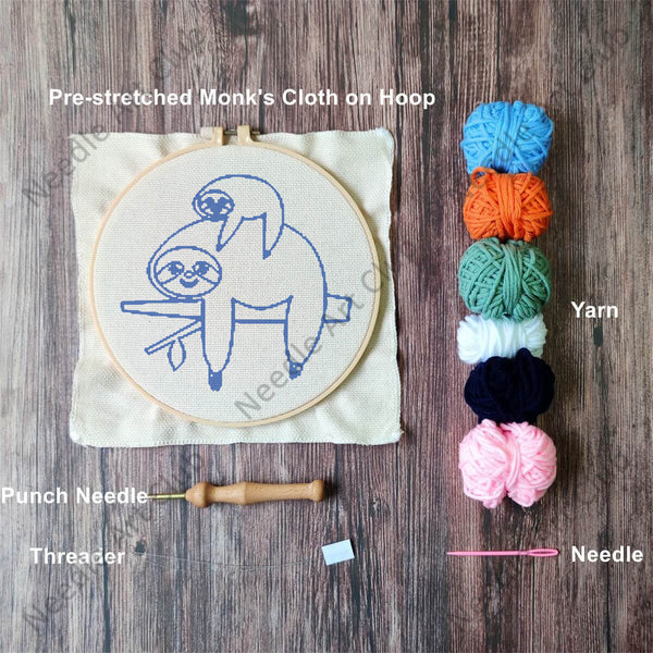 Sloth Punch Needle Kit