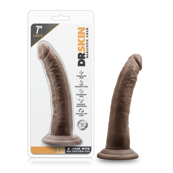 "Dr Skin 7 Cock W Suction Cup Chocolate "" - iVenuss"