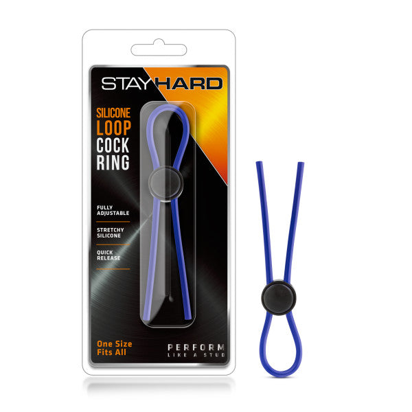 Stay Hard Silicone Loop Cock Ring Blue - iVenuss