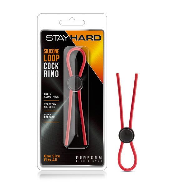 Stay Hard Silicone Loop Cock Ring Red - iVenuss