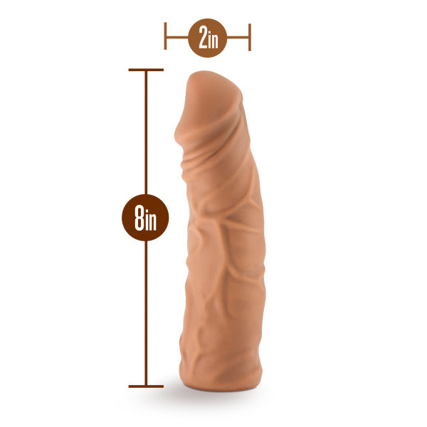 The Realm Realistic 8 In Lock On Dildo Mocha - iVenuss