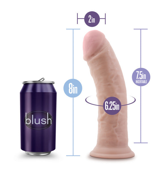 Au Naturel 8in Dildo W- Suction Cup Vanilla - iVenuss