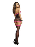 Stretch Lace Halter Garter Dress O-s Black-fuschia - iVenuss