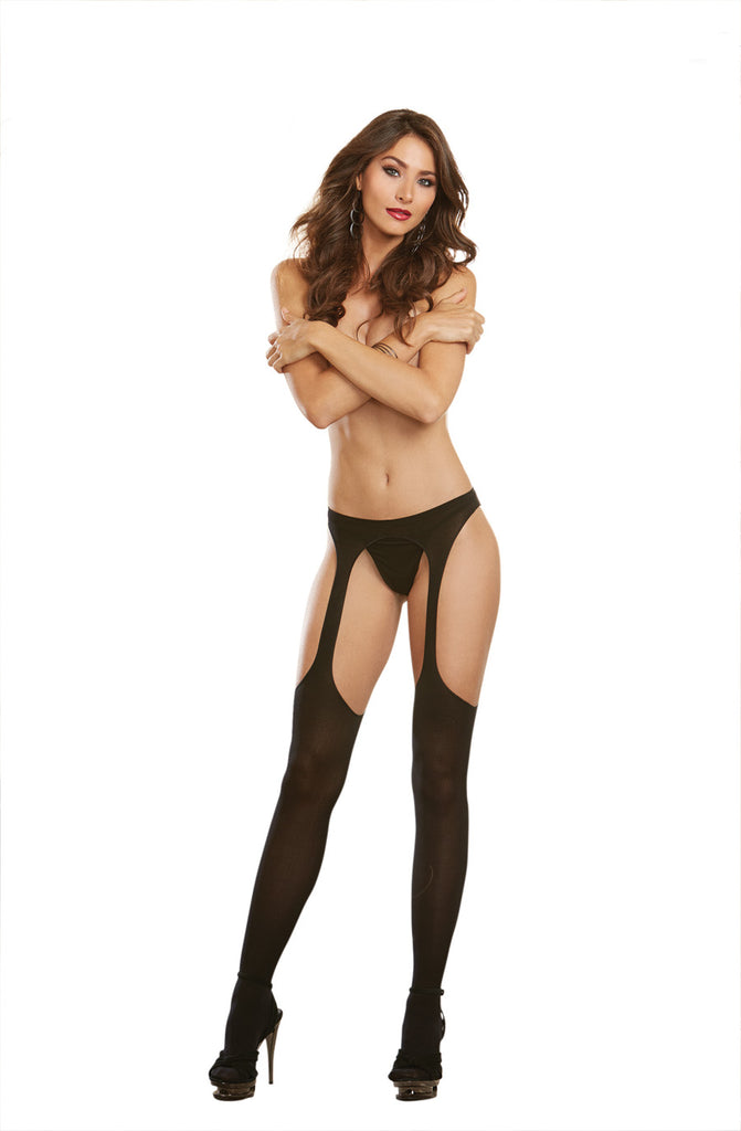 Sheer Suspender Pantyhose Black O-s - iVenuss