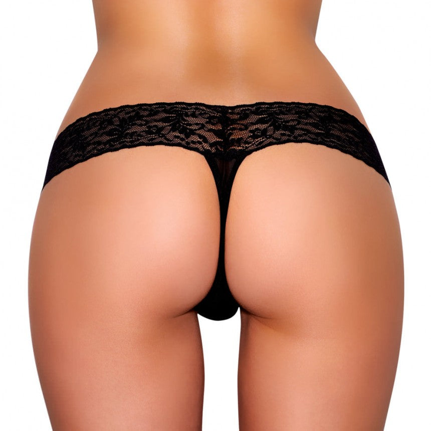 Vibrating Lace Thong Black - iVenuss