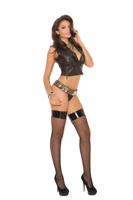 Fishnet W- Thigh Hi Vinyl Top Black O-s - iVenuss