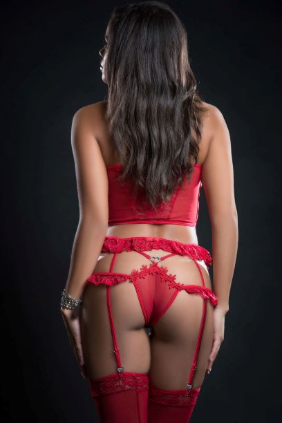 4pc Cami Top Lingerie Set W- Ruffled Garter Belt & Stocking Red Berry