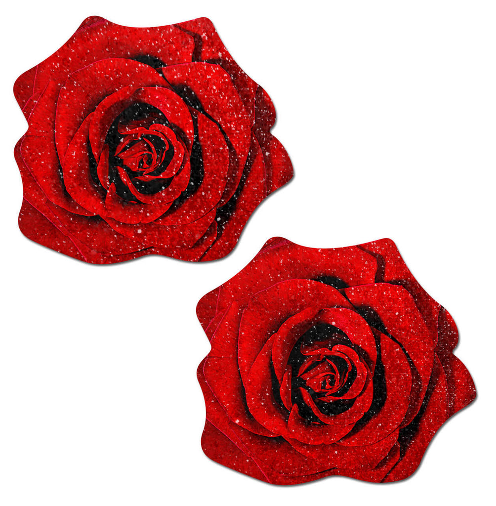 Pastease Rose Red Glitter Velvet Nipple Pasties - iVenuss