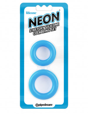 Neon Stretchy Silicone Cock Ring Set Blue - iVenuss
