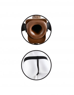 "Fetish Fantasy Hollow Strap On W-ball 7 Vibrating Brown "" - iVenuss"