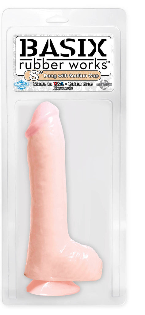 Basix Rubber Works 8in Dong W-suction Cup Flesh - iVenuss