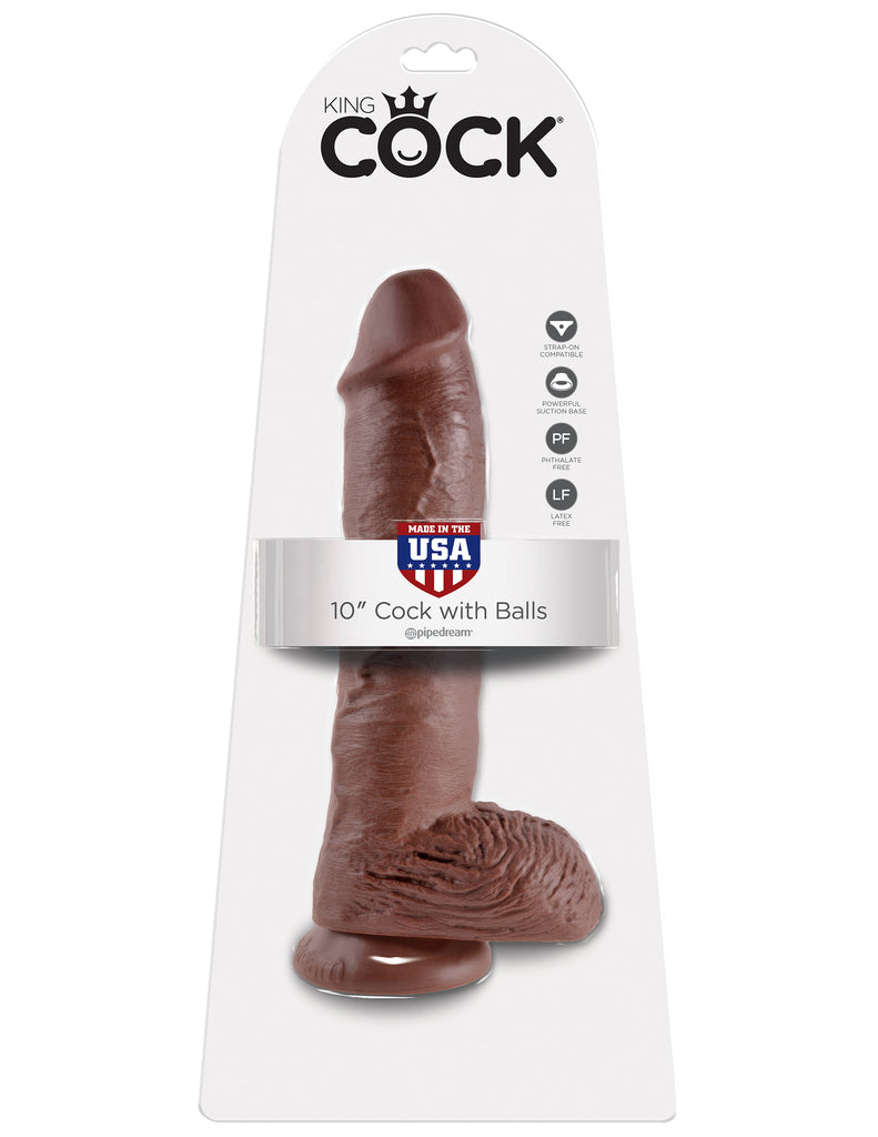 King Cock 10in Cock W-balls Brown - iVenuss