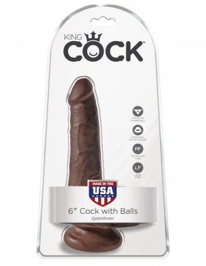 "King Cock 6 Cock W-balls Brown "" - iVenuss"