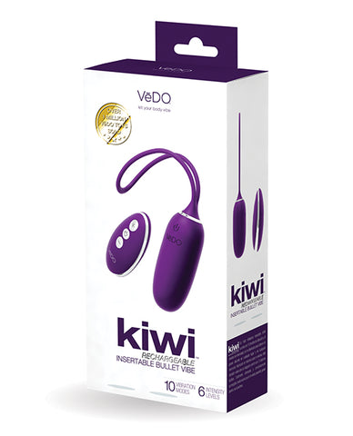 Vedo Kiwi Rechargeable Bullet Insertable Deep Purple - iVenuss