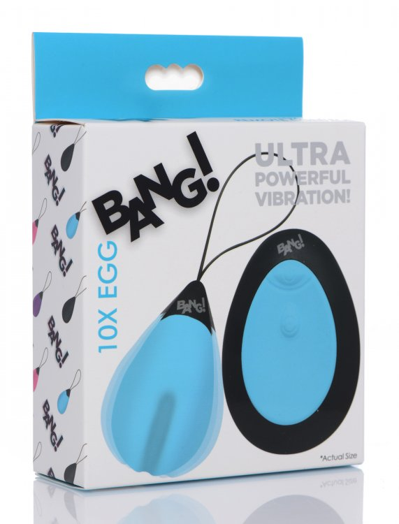 Bang! 10x Vibrating Silicone Egg W- Remote Blue