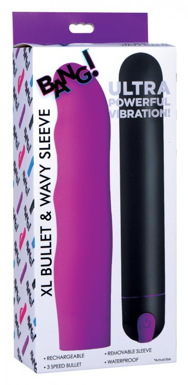 Bang! Xl Bullet & Wavy Silicone Sleeve Purple