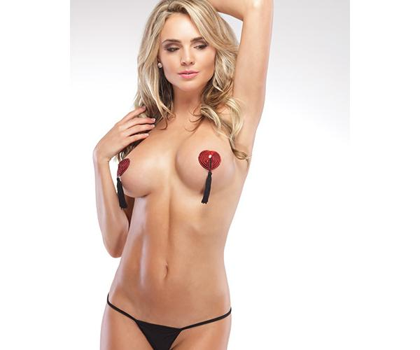 Heart Shaped W- Tassels Pasties Red-black Os