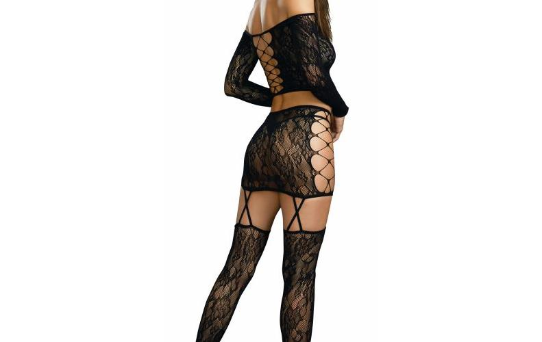Lace Patterned Knit 2pc Garter Set O-s Black