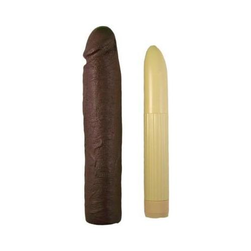 Magnificent 11 Vibrating Dong & Penis Extension Brown