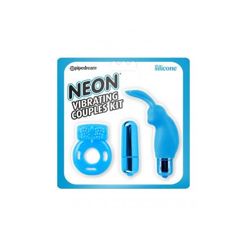 Neon Vibrating Couples Kit Blue