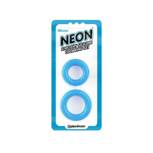 Neon Stretchy Silicone Cock Ring Set Blue